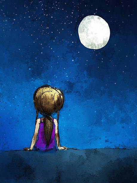 stockillustraties, clipart, cartoons en iconen met digital painting of  girl sitting lonely in the moonlight - solitair