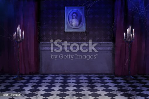 istock digital painting of halloween theme interior with candles and checker floor and ghost photo frame on wall 1331933944