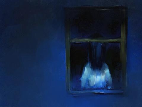 digital painting of horror girl behind the window