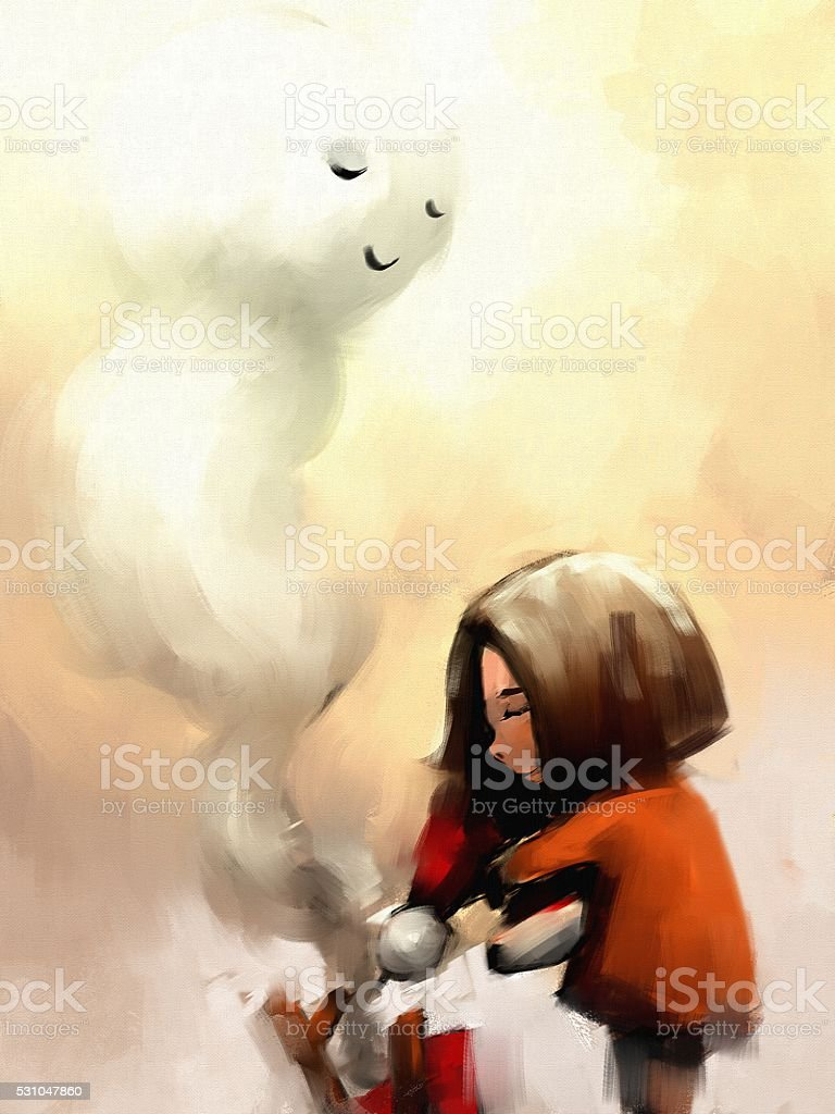 digital painting of little girl with snowman vector art illustration