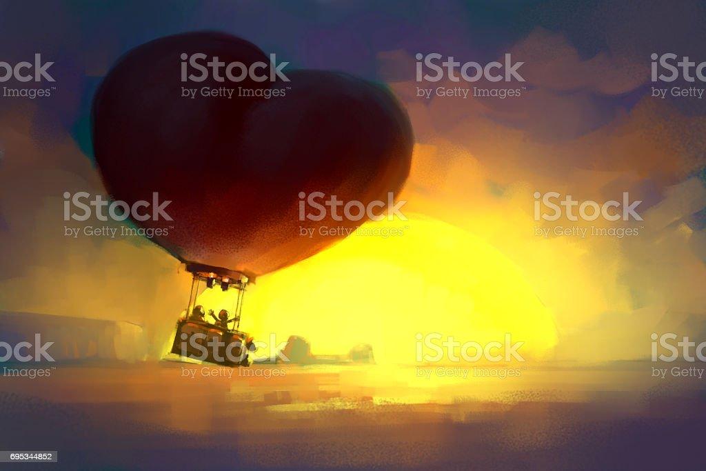 Güneş Doğarken Uçan Kırmızı Kalp şeklinde Balon Dijital Boyama Stok