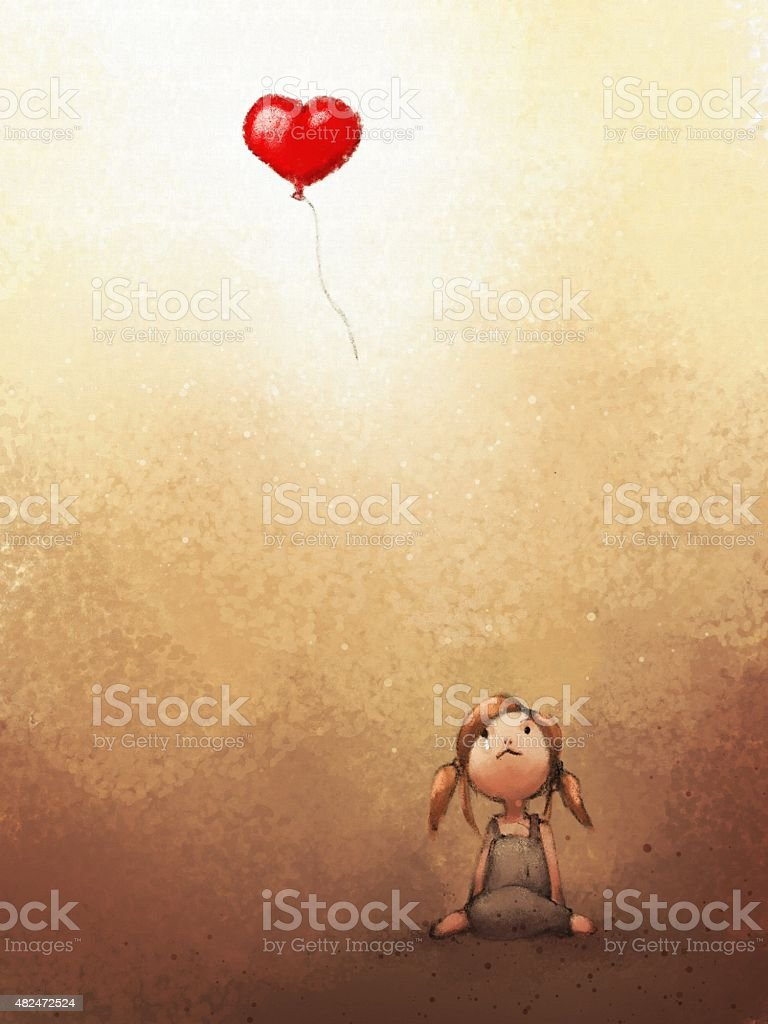 digital painting of sad girl loosing heart balloon vector art illustration