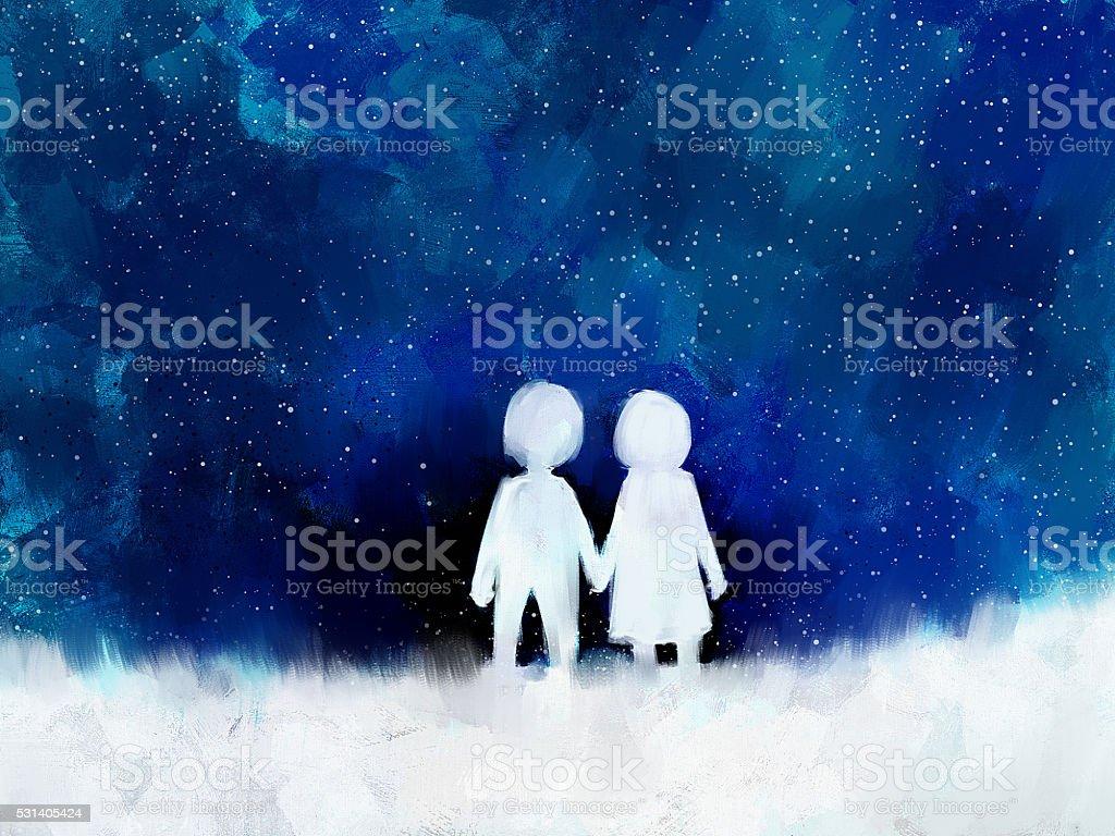 デジタル絵画の若いカップル恋に手をつなぐ ベクターアートイラスト