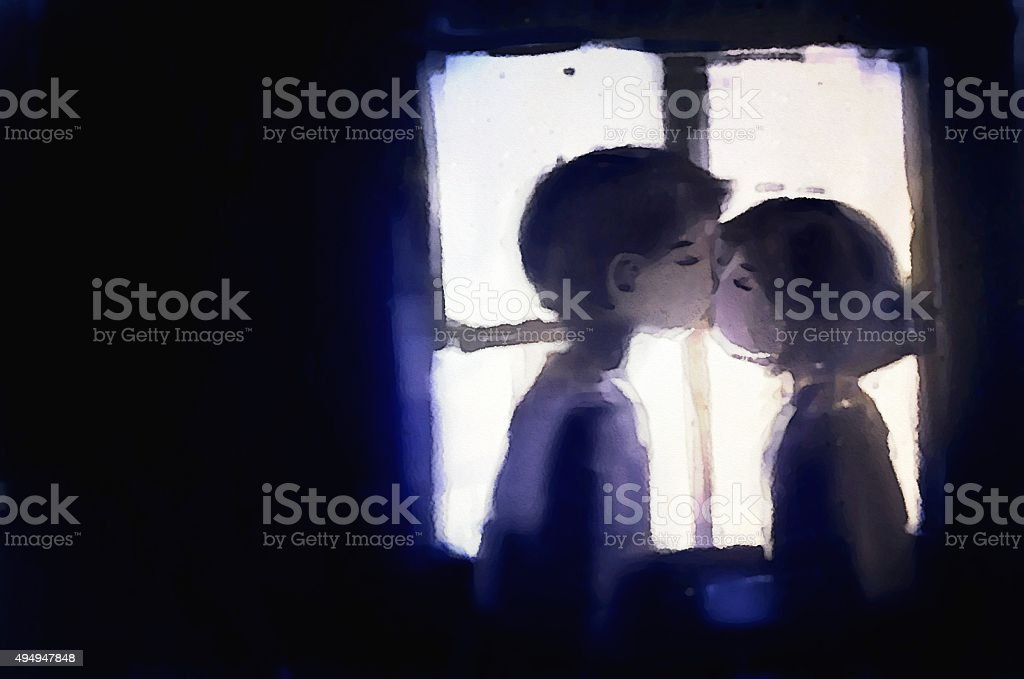 digital painting of young couple kissing on window background vector art illustration