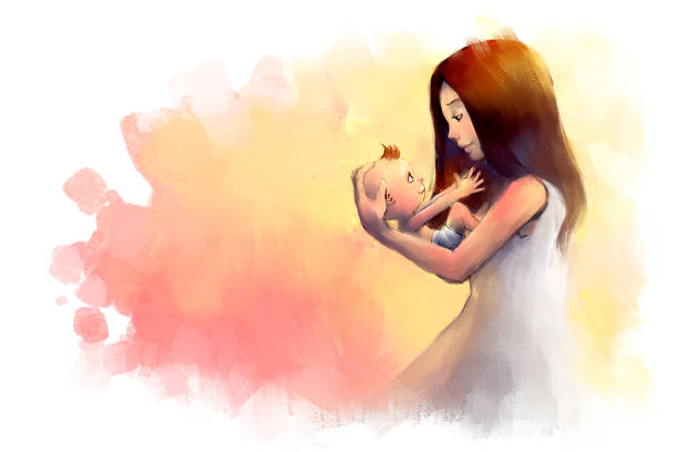 digital painting of young mother holding little baby vector art illustration