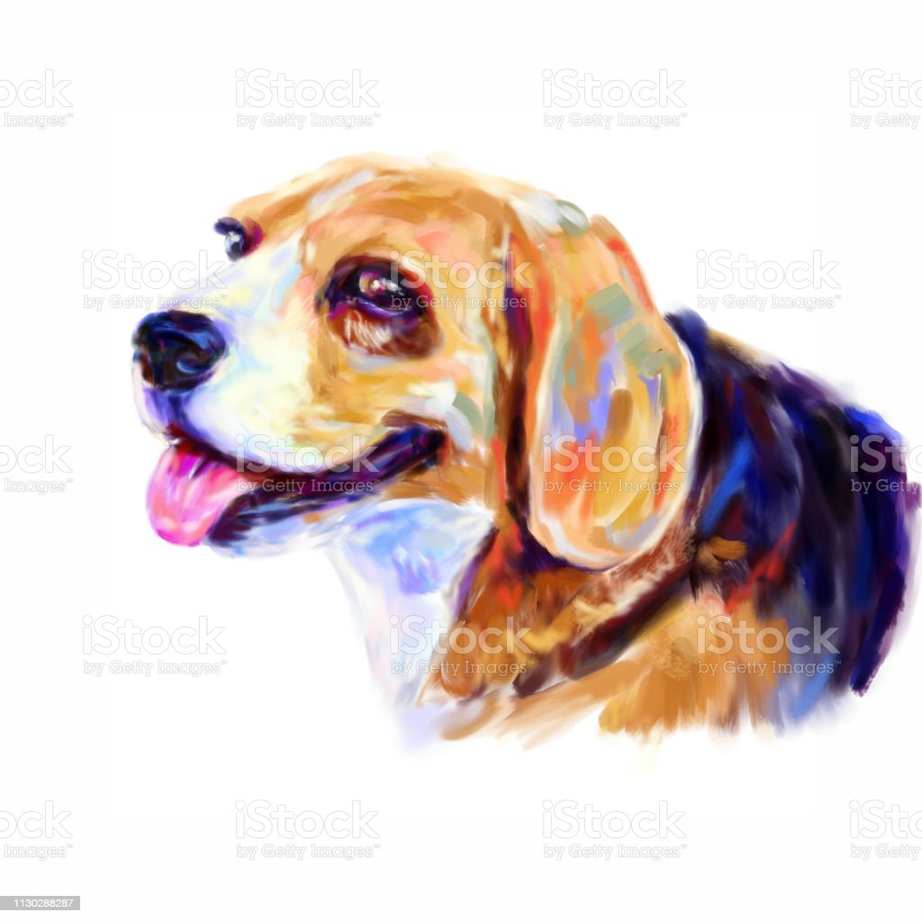 Digital Painting Portrait Of Beagle Dog Stock Illustration Download Image Now Istock