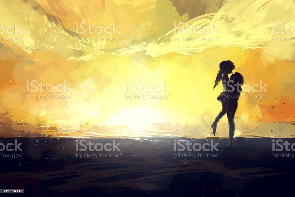 digital painting set of couple on beach at the sunset, acrylic on canvas texture, story telling illustration vector art illustration