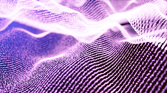 Digital particles floating wave form in the abyss abstract cyber technology de-focus background