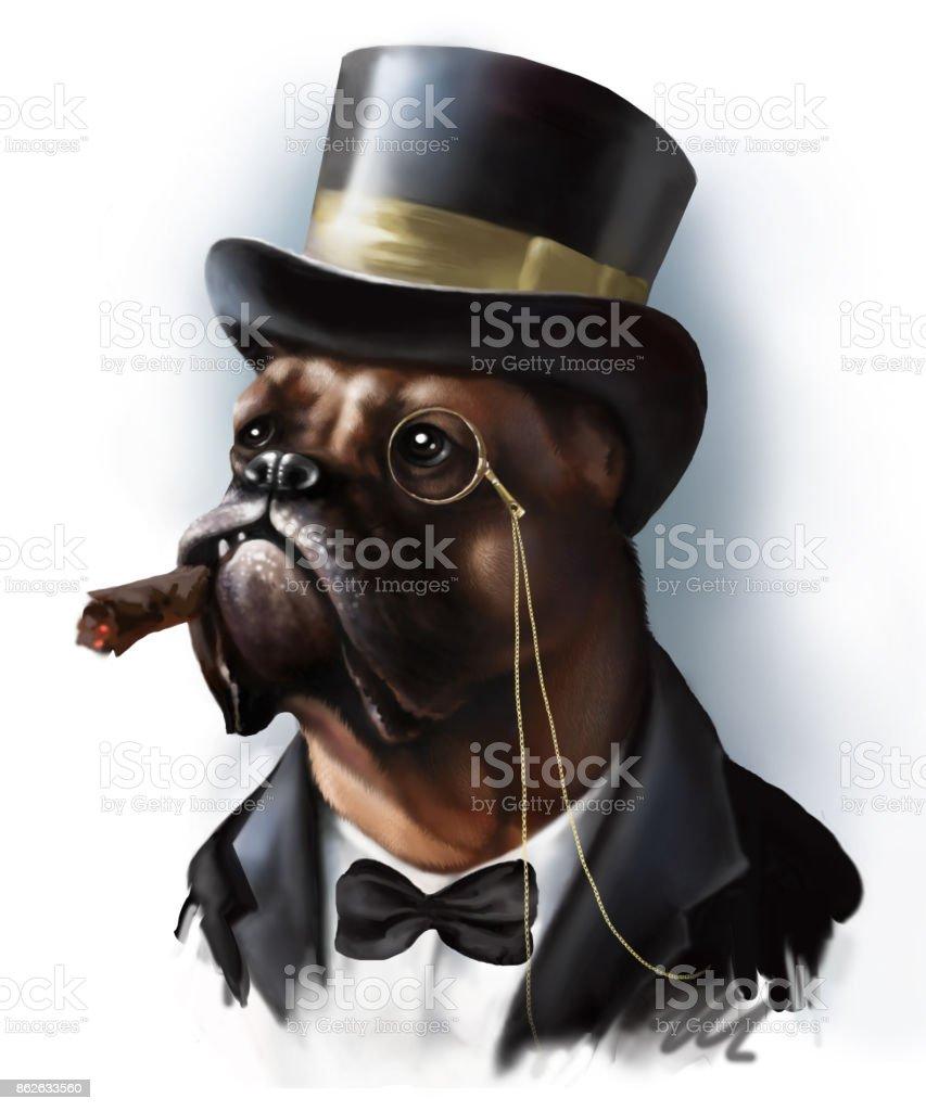 Ilustración de Retrato Digital De Un Boxeador De Raza De Perro Rojo ...