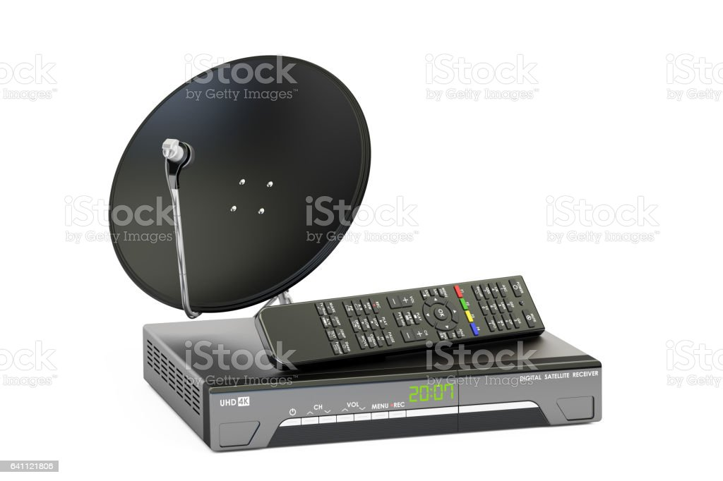 Digital satellite receiver with satellite dish, telecommunications concept. 3D rendering vector art illustration