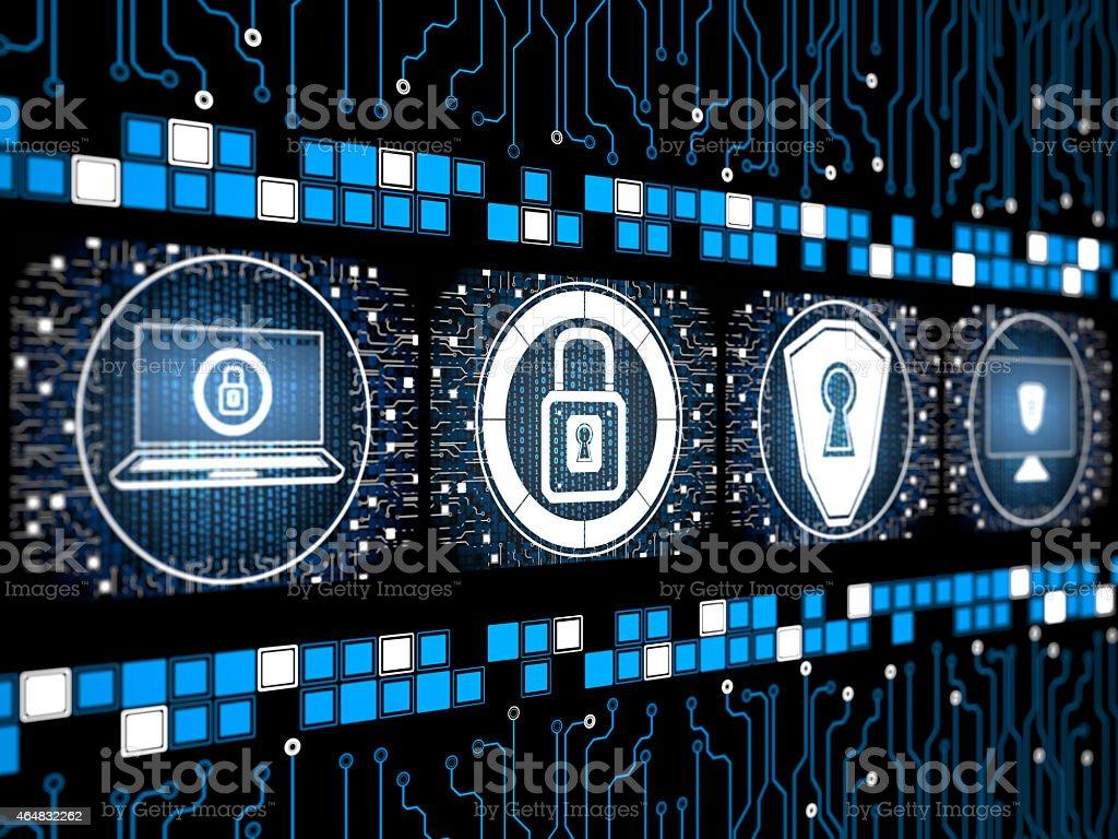 Digital security concept screen vector art illustration