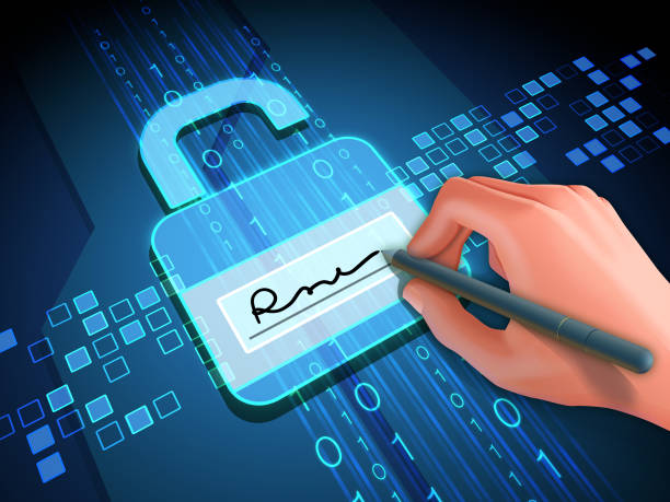 Digital signature and lock Digital signature grants access to digital data. Digital illustration. signature stock illustrations