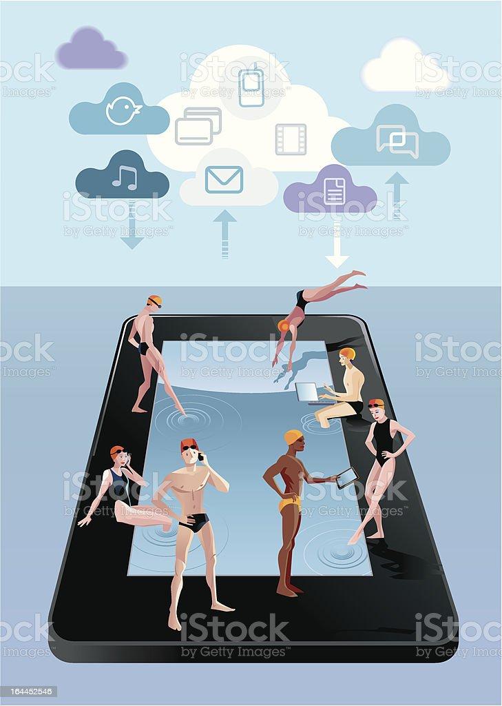 Digital Tablet As Swimming Pool Blue royalty-free stock vector art