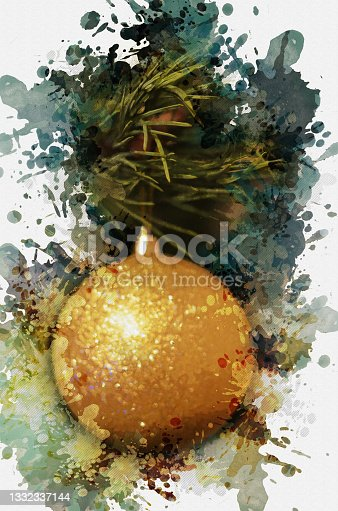 istock Digital watercolor painting yellow Christmas tree ball. Merry Ch 1332337144