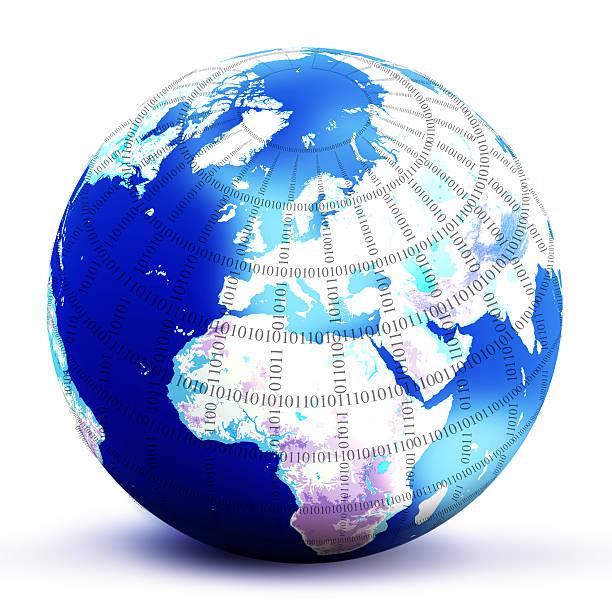 digital world globe vector art illustration