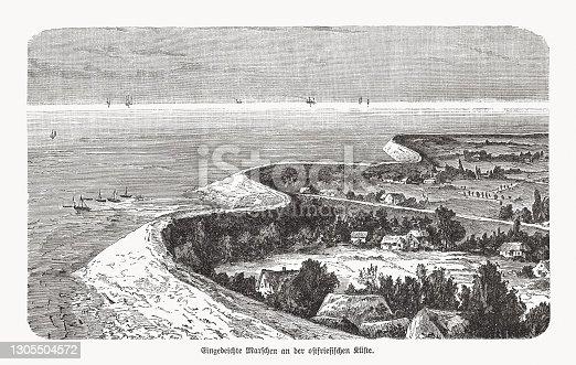 istock Diked marshland on the East Frisian coast, woodcut, published 1893 1305504572