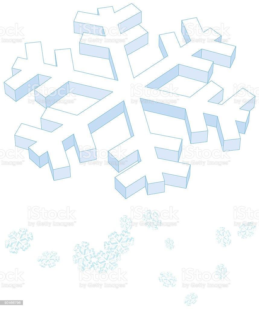dimensional snowflake + brush royalty-free stock vector art