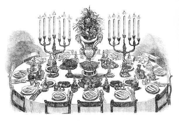 illustrazioni stock, clip art, cartoni animati e icone di tendenza di dining table decorated for 12 persons 19th century - tavola imbandita