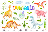 Dino world watercolor set isolated on white background. Dinosaurs, rocks, plants of Jurassic period. Hand drawn illustration for nursery wallpaper, stickers, baby clothes, kids fabric, books
