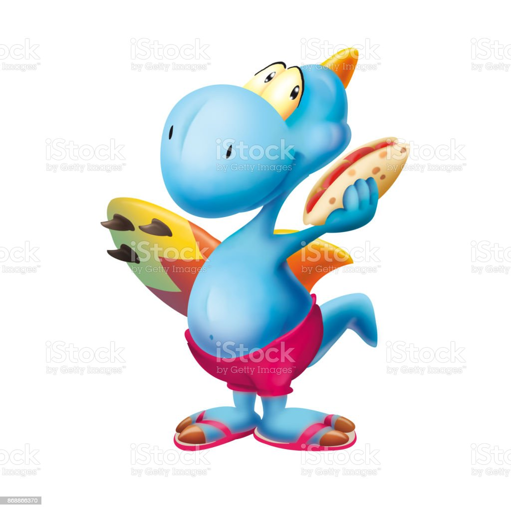 Dinosaur with the surf board and piadina vector art illustration