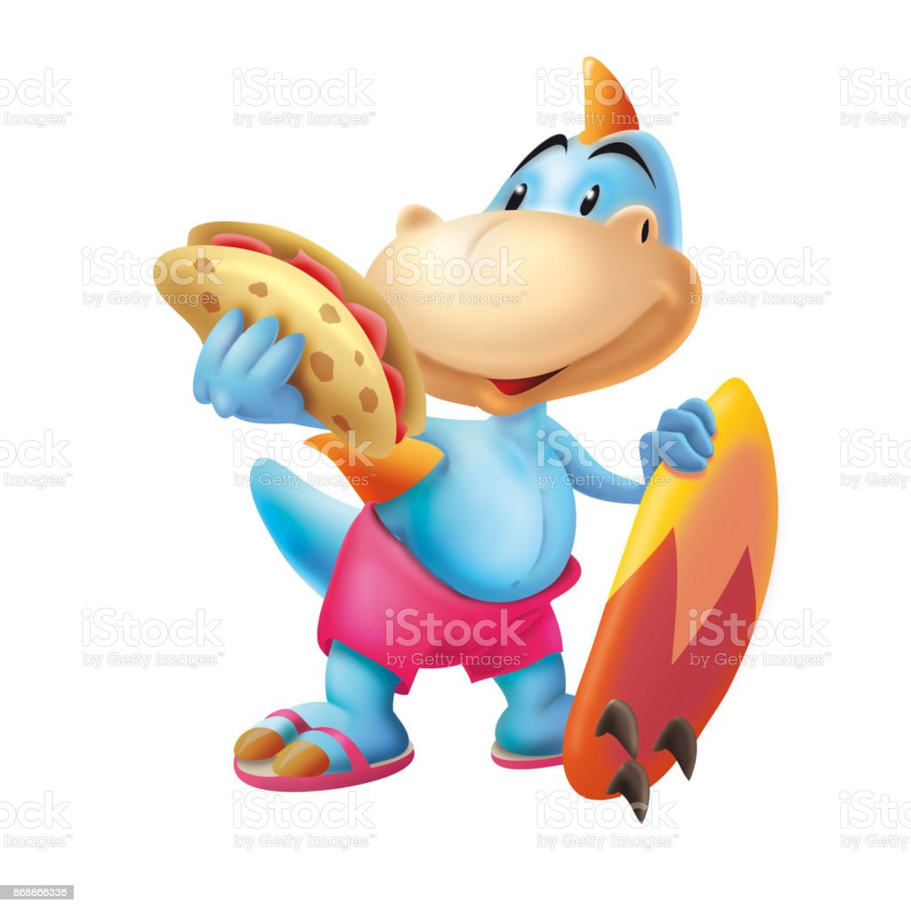 Dinosaur with the surf board and sandwich vector art illustration