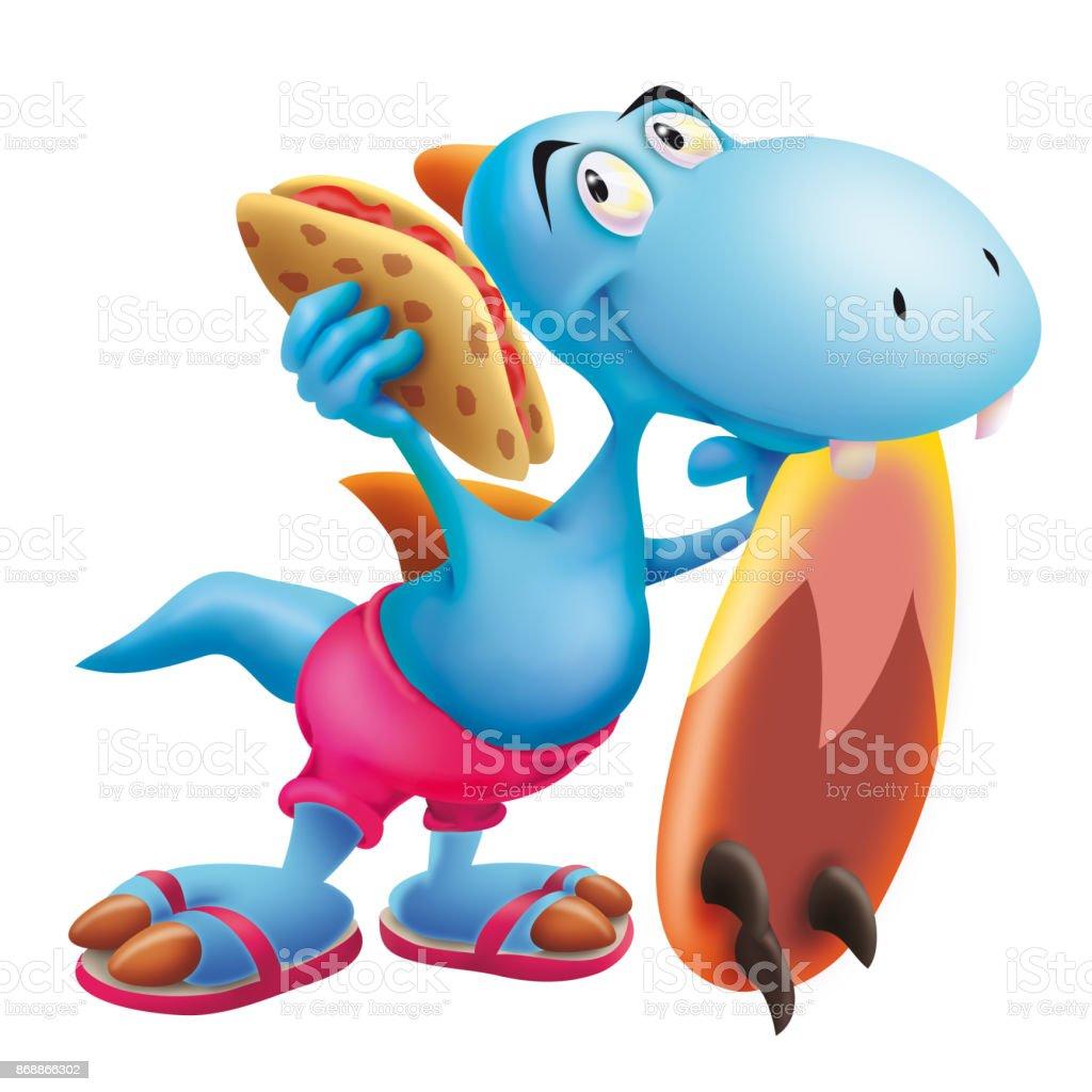 Dinosaur with the surf board and tortilla vector art illustration