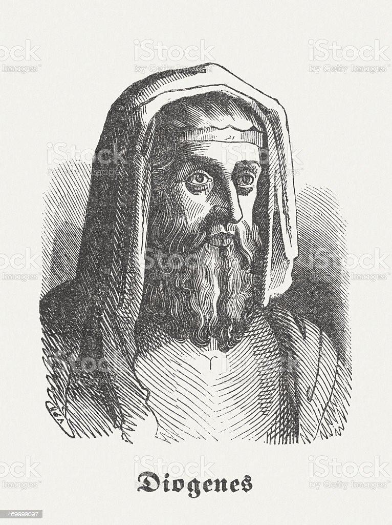 Diogenes Of Sinope Greek Philosopher Wood Engraving