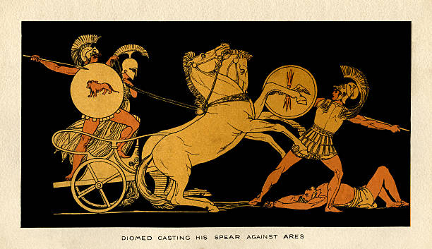 Diomed casting his spear against Ares vector art illustration
