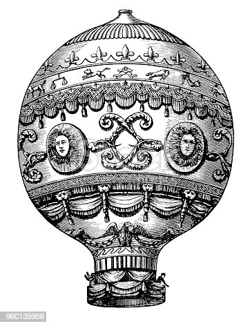 Illustration of a Dirigible airship ,Montgolfier`s Flying Balloon