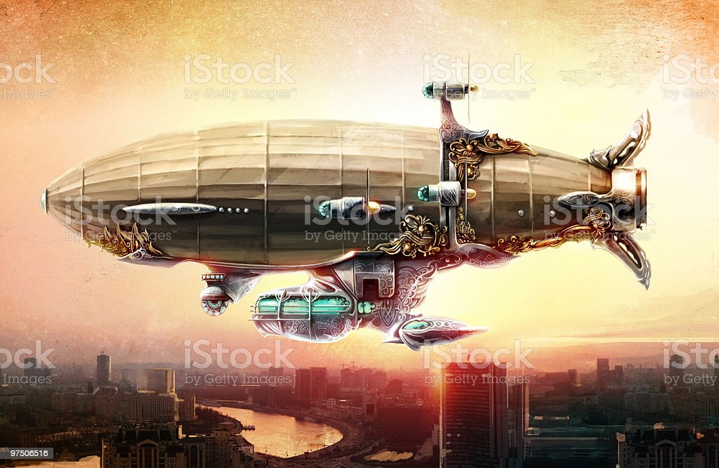 Dirigible balloon in the sky over a city vector art illustration