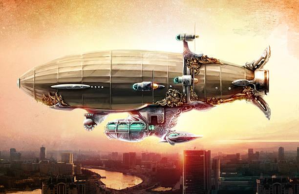 Dirigible balloon in the sky over a city vector art illustration