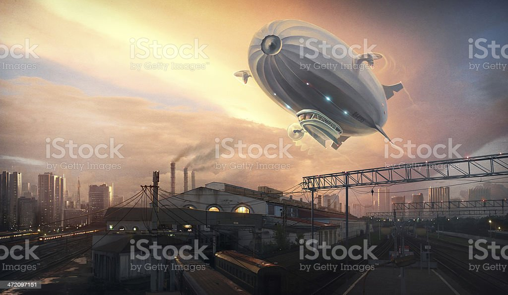 Dirigible in sky over vector art illustration