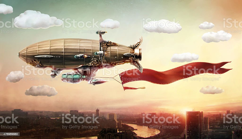 Dirigible with a banner, in the sky over a city. vector art illustration