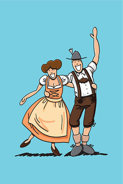 """Dirndl And Lederhosen Couple Hugging """"Vector illustration of a bavarian couple in Dirndl and Lederhosen hugging each other. The line art, color and background are on separate layers, so you also can use the illustration on your own background. The colors in the .eps-file are ready for print (CMYK). Included files: EPS (v8) and Hi-Res JPG."""" oktoberfest stock illustrations"""