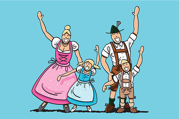 "Dirndl And Lederhosen Family Waving Hands ""Vector illustration of a happy bavarian family in Dirndl and Lederhosen. The line art, color and background are on separate layers, so you also can use the illustration on your own background. The colors in the .eps-file are ready for print (CMYK). Included files: EPS (v8) and Hi-Res JPG."" doodle NOT black and white stock illustrations"