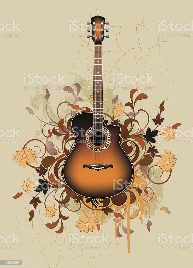Dirty abstract with orange acoustic guitar royalty-free stock vector art