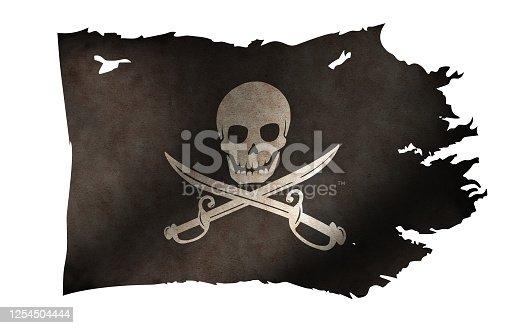 istock Dirty and torn pirates flag illustration / skull and bones 1254504444