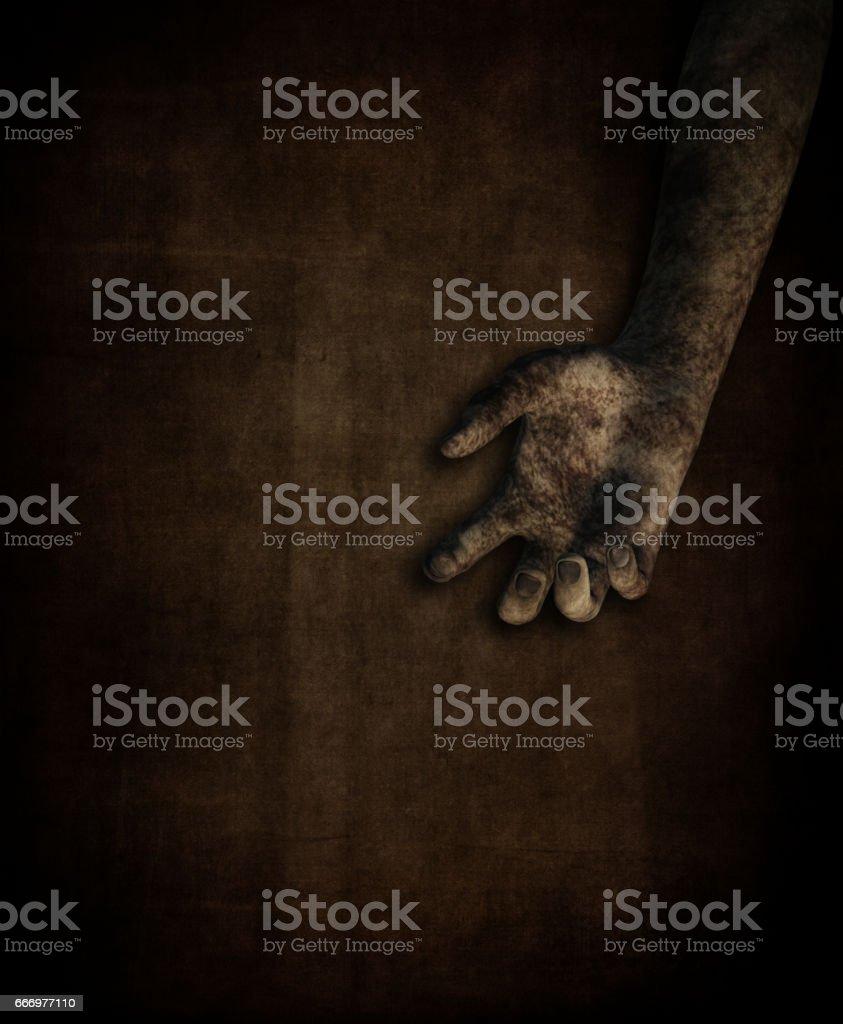3D dirty female hand on grunge background vector art illustration