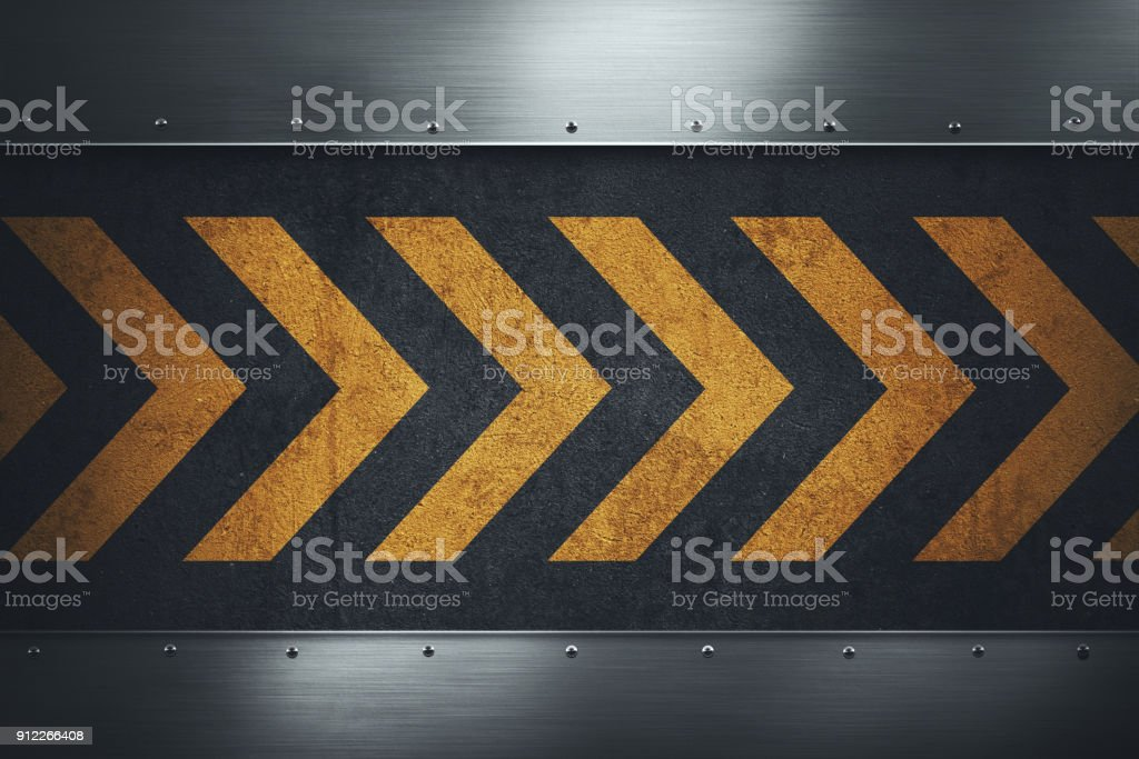 Dirty grungy asphalt surface with yellow warning stripes vector art illustration
