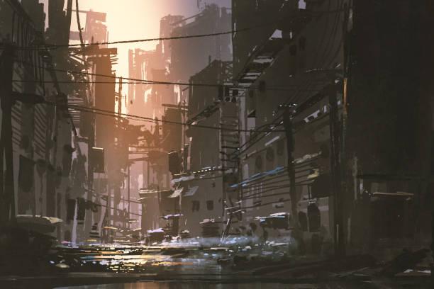 bildbanksillustrationer, clip art samt tecknat material och ikoner med smutsig gata i övergivna staden - gränd