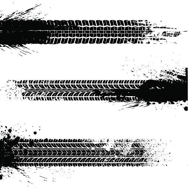 illustrazioni stock, clip art, cartoni animati e icone di tendenza di tracce di sporco - bike tire tracks
