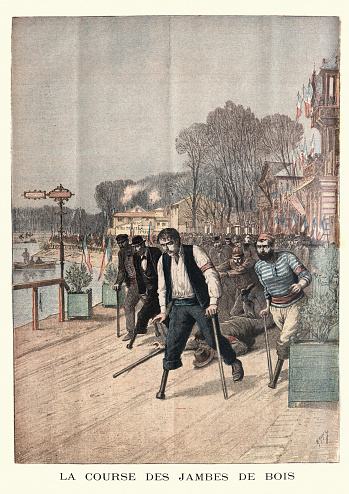 Disabled athletes competing in a race, France, 19th Century
