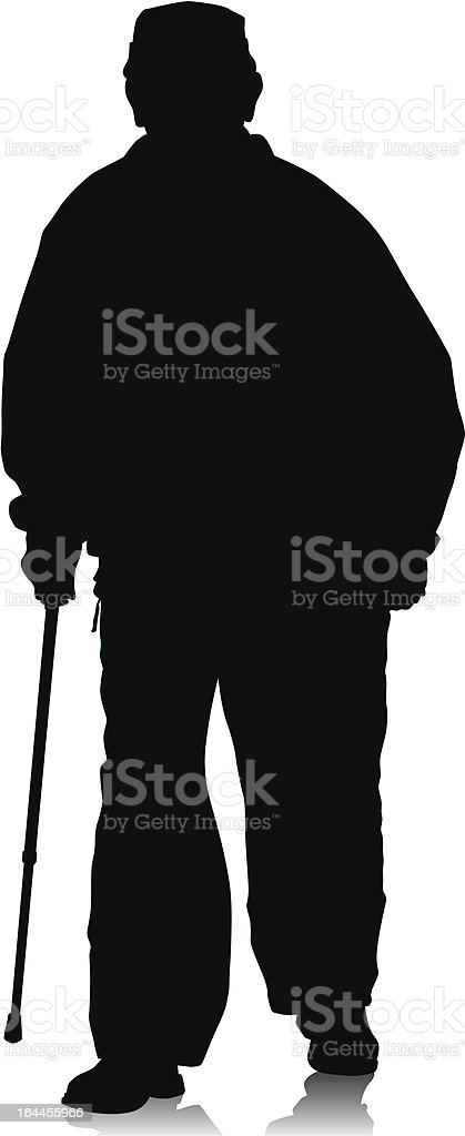 Disabled on whit crutches royalty-free stock vector art