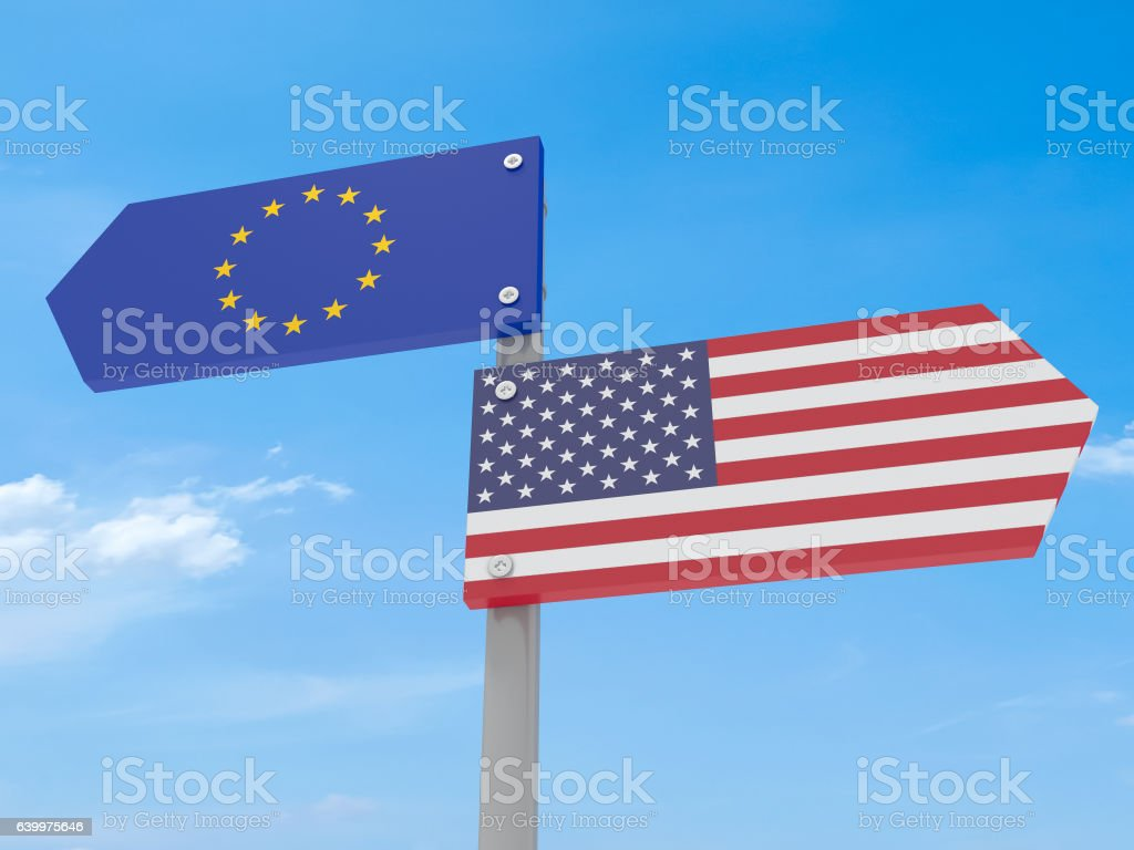 Disagreement: US And EU Road Sign Pointing In Different Directions vector art illustration