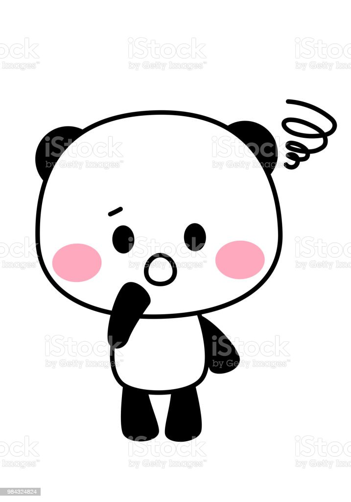 Disappointed panda character vector art illustration