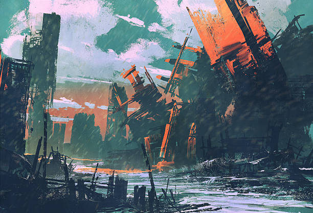 disaster city,apocalyptic scenery disaster city,apocalyptic scenery,illustration painting demolished stock illustrations