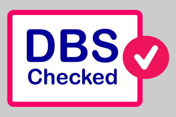 Disclosure and Barring Service (DBS) Checked Button Isolated on Grey Background Web button/illustration reading