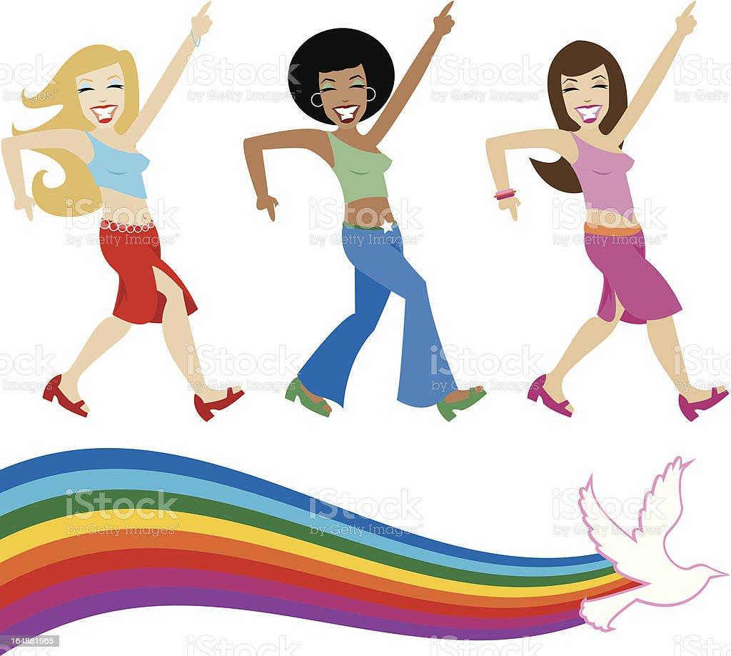 Disco Divas vector art illustration