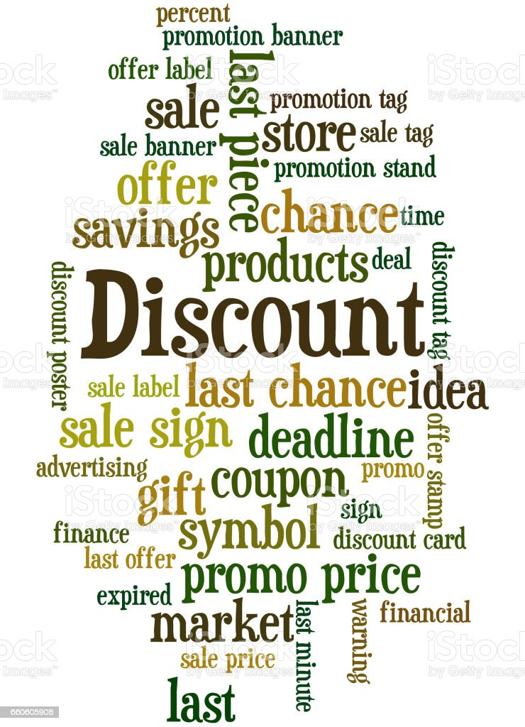 Discount, word cloud concept 6 royalty-free discount word cloud concept 6 stock vector art & more images of business