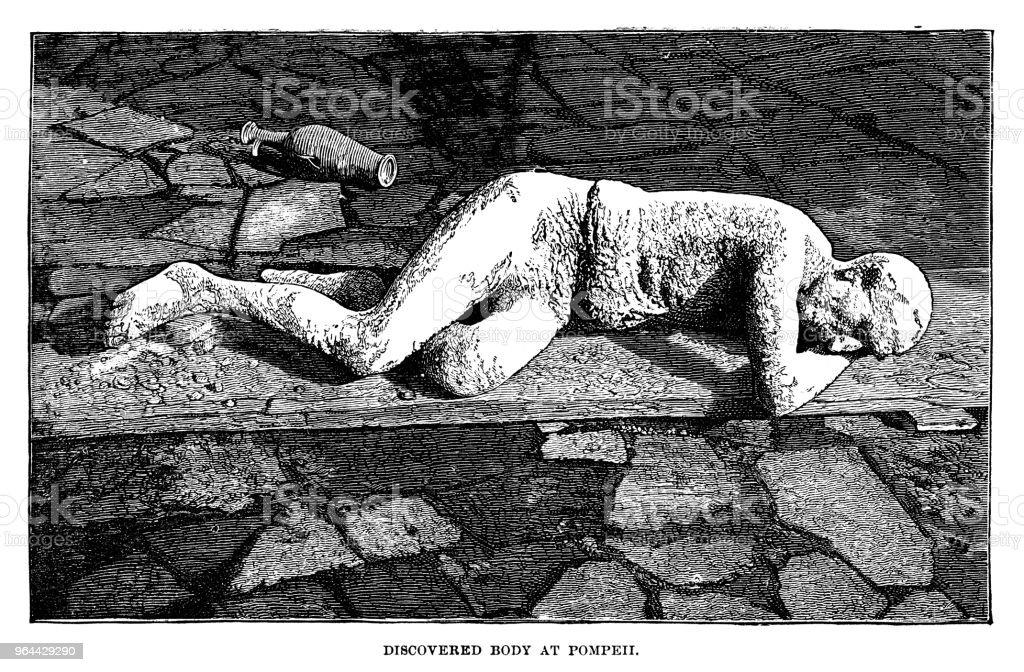 Corpo descoberto em Pompeia - Ilustração de Adulto royalty-free